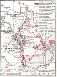 """Mapa przebiegu trzeciego powstania śląskiego. Źródło: """"Dzieje Oręża Polskiego"""", MON, W-wa 1973."""